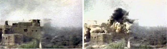 Архивный снимок взрыва крепости Бадабер.