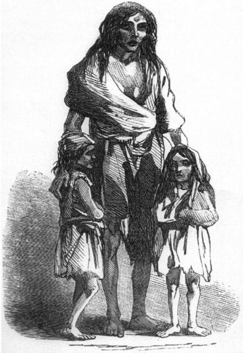 Изображение 1849 года: Бриджит О'Доннелл и её дети во время Великого ирландского картофельного голода.