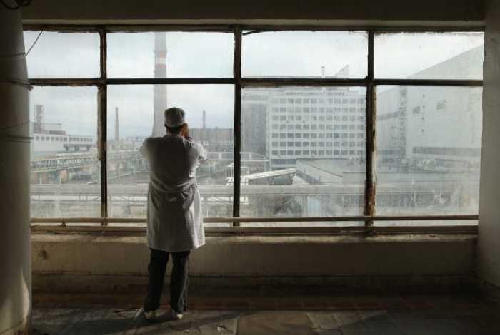 Вид на город из чернобыльской диспетчерской.