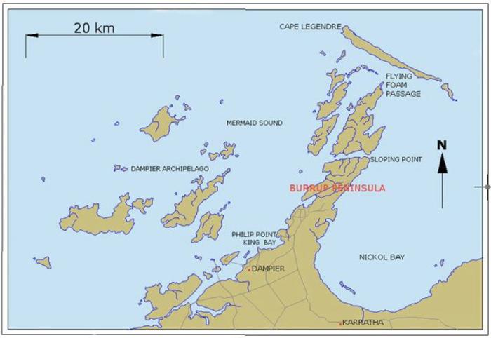 Карта полуострова Бурруп в Западной Австралии.