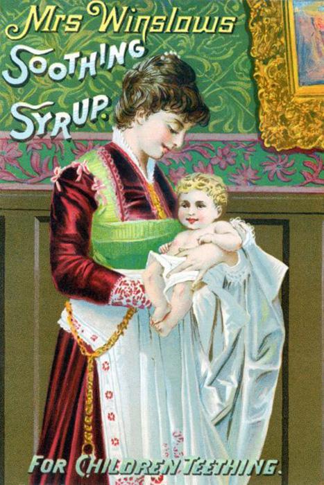 Коллекционная карточка миссис Уинслоу с успокаивающим сиропом, 1900 год.