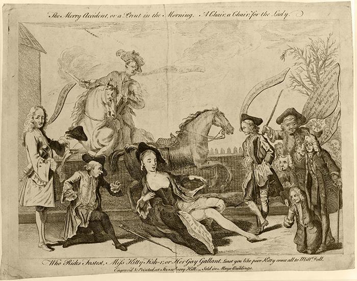 Историческое падение Китти Фишер с лошади.