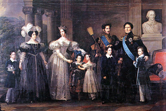 Король Карл Юхан с семьёй.