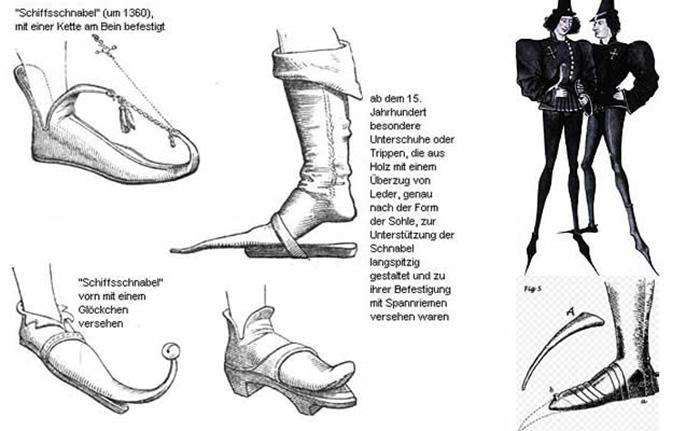 Жертвами моды чаще становились богатые, ибо чем длиннее и неудобнее носок, тем статуснее.