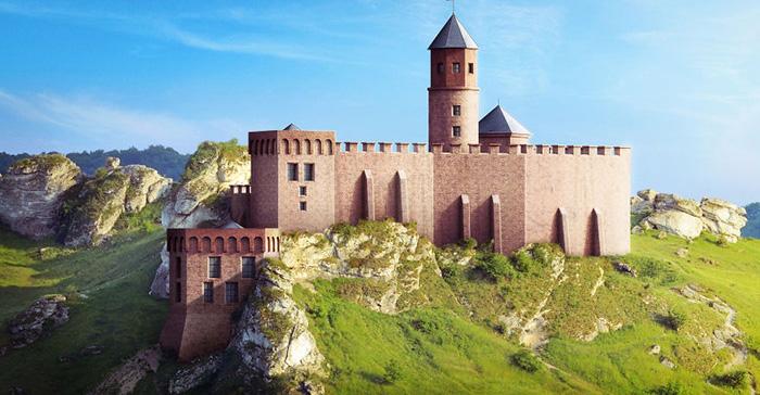 Реконструкция замка Ольштын.