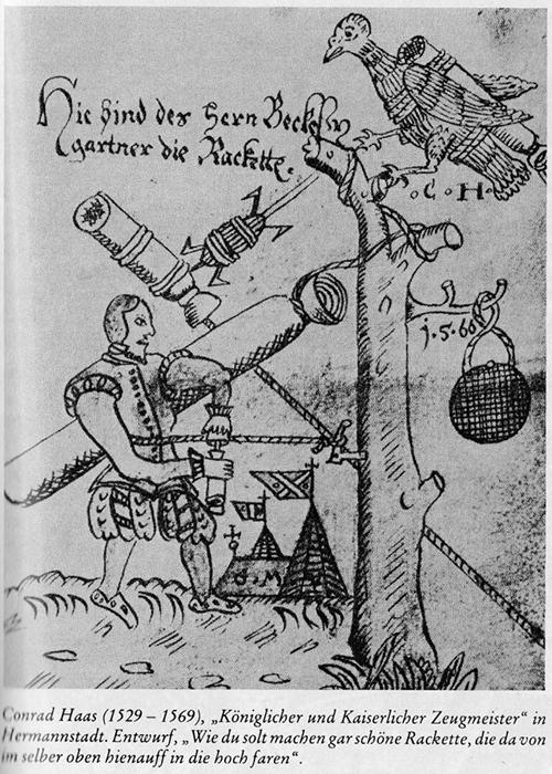 Иллюстрация из рукописи Хааса, показывающая инструменты и методы создания ракет.