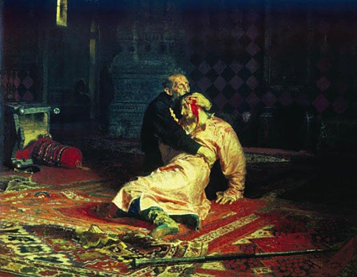 «Иван Грозный убивает своего сына», картина русского художника Ильи Репина, 1883-1885 гг.