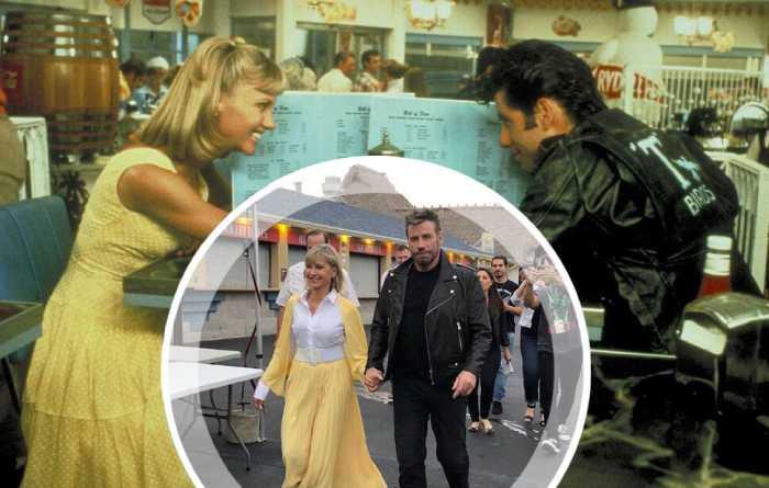 На мероприятии актёры появились в костюмах своих героев из фильма «Бриолин».