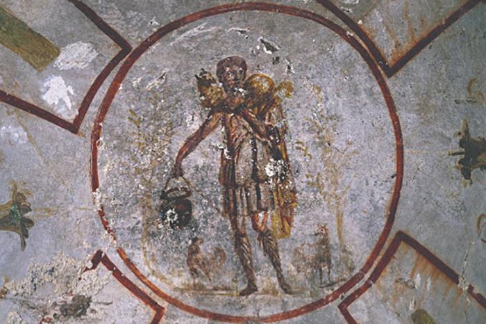 Одно из первых изображений Христа в римских катакомбах.
