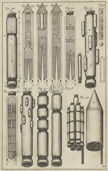 Иллюстрации Семеновича, показывающие многоступенчатые и скомпонованные ракеты.