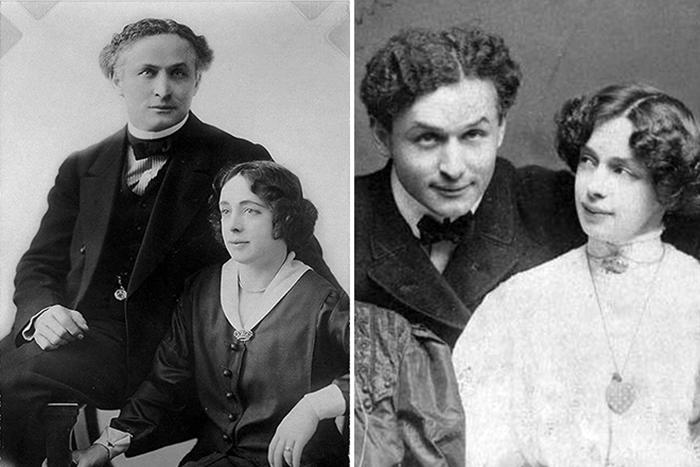 Гарри Гудини со своей любимой женой и неизменной соратницей - Вильгельминой Беатрис Ранер.