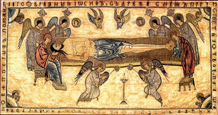 Первое упоминание плащаницы в исторических документах датируется 14 веком.