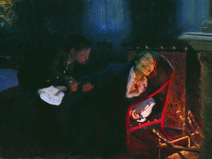 Гоголь сжигает рукопись второй части романа «Мёртвые души».