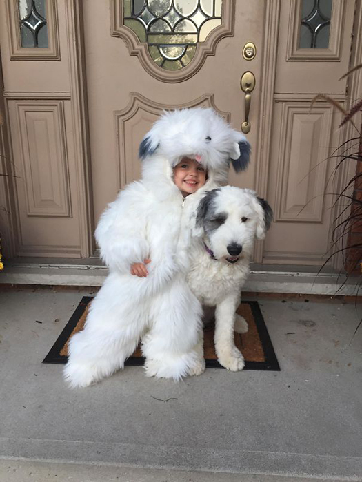 Девочка хотела быть овчаркой на Хэллоуин.