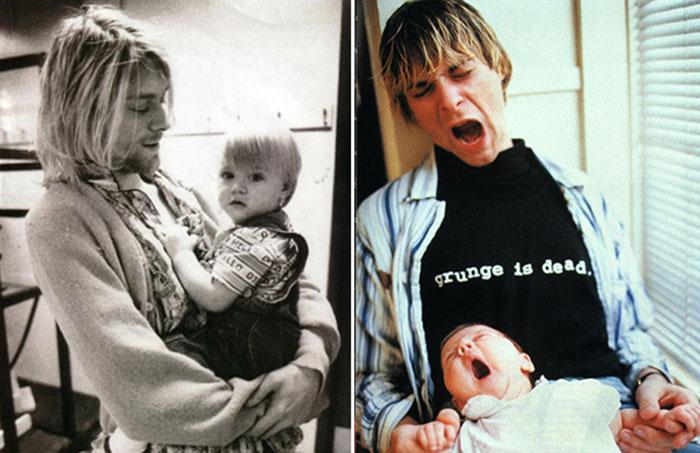 Курт Кобейн с новорождённой дочерью Френсис Бин Кобейн.