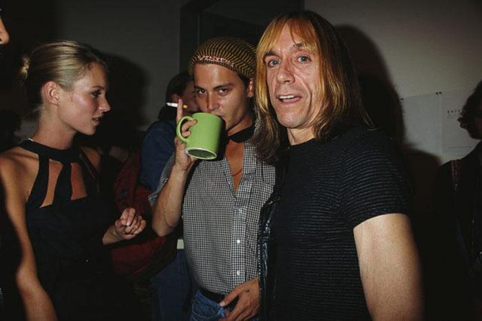 Кейт Мосс, Джонни Депп и Игги Поп в 1995 году.