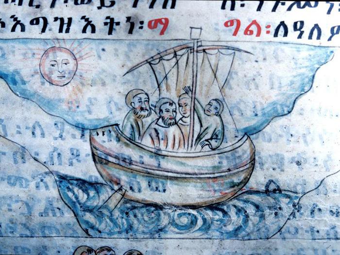 Фрагмент царя Лебны Денгеля, около 1520 года, монастырь Тадбаба Марьям, Эфиопия.