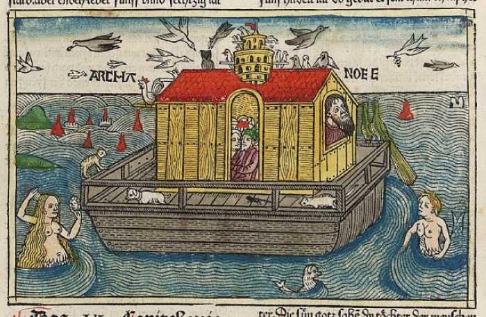 Страница из средневековой немецкой Библии с иллюстрацией о потопе.
