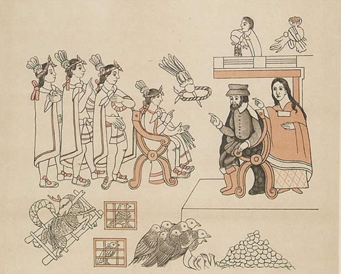 Император Монтесума ІІ с почестями встречает Кортеса.