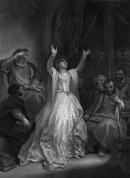 Анна Болейн в отчаянии поднимает руки, будучи приговорённой к смертной казни за государственную измену в лондонском Тауэре.