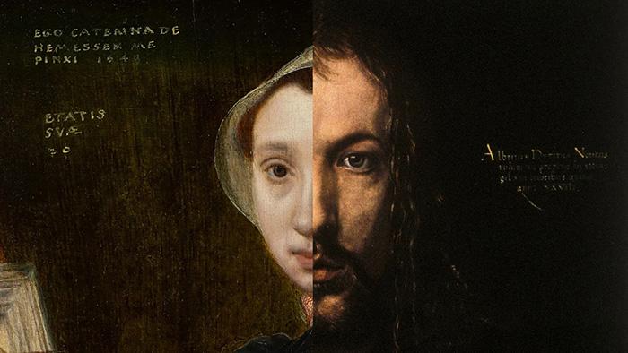Как и в случае с изображением Дюрера, Хемессен сопоставила свою личность с изображением Христа.