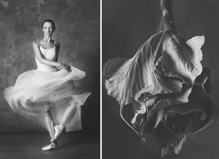 Воздушное платье балерины имитирует изящные лепестки цветка.