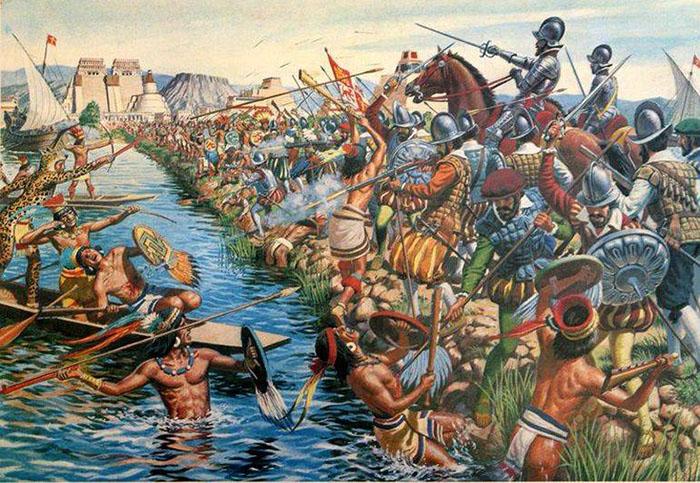 Битва ацтеков с испанскими конкистадорами.