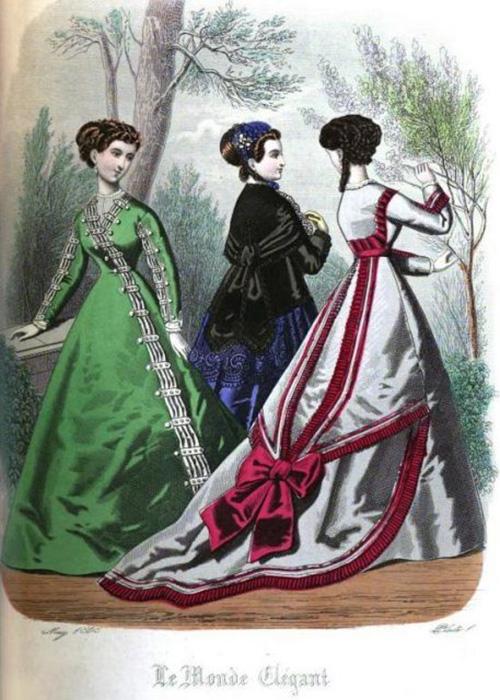 Пример платья, окрашенного в зелёный цвет с добавлением мышьяка, 1868 год.