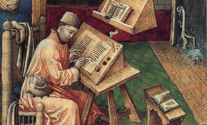 Монах переписывает книгу.
