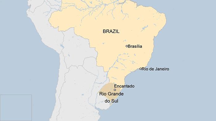Расположение городов Энкантадо и Рио-де-Жанейро на карте.