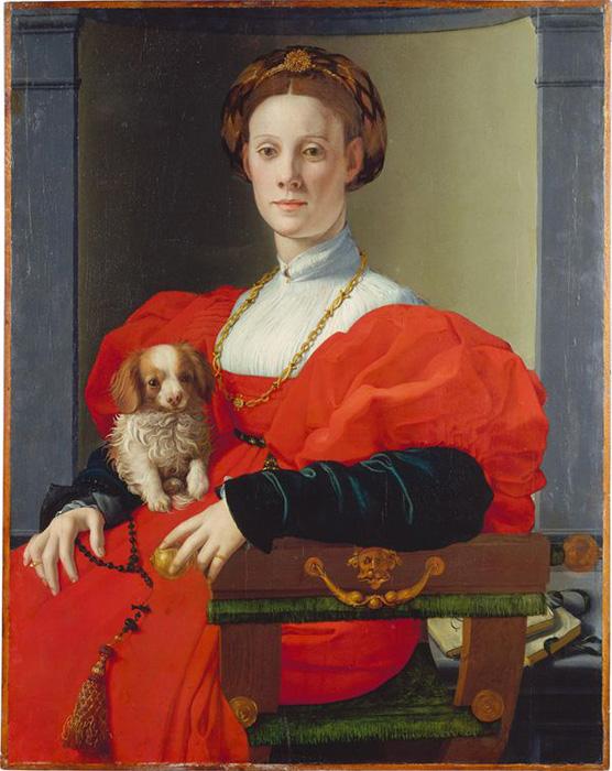 Бронзино, Портрет женщины с болонкой , около1532–1533 годов.