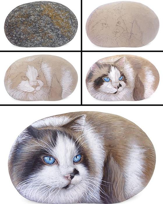 Процесс создания картины на камне.