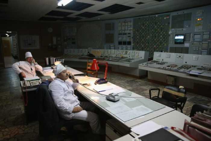 Зал управления энергоблока № 3 Чернобыльской АЭС.