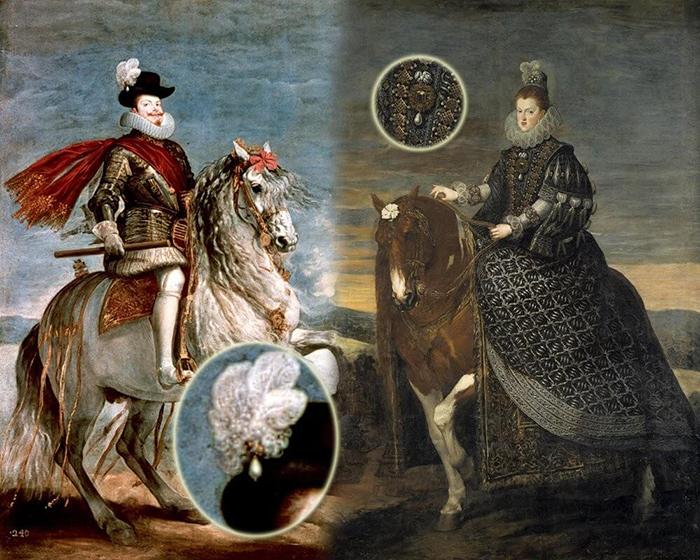 На портретах испанских монархов.
