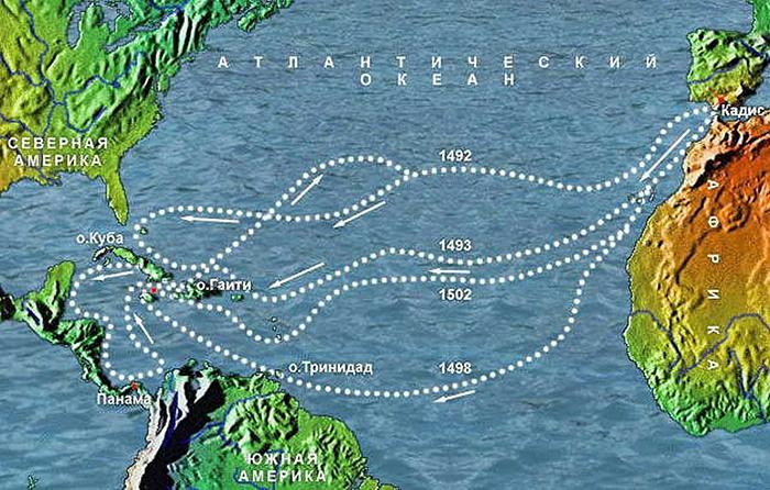 Карта путешествий Христофора Колумба.