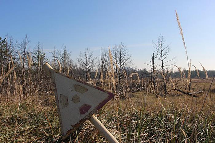 Предупреждение о радиации в Чернобыльской зоне отчуждения.