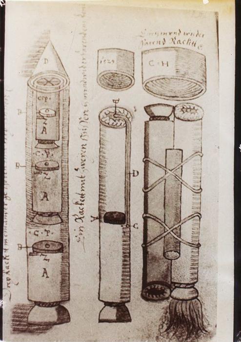 Иллюстрации многоступенчатой ракеты Хааса.