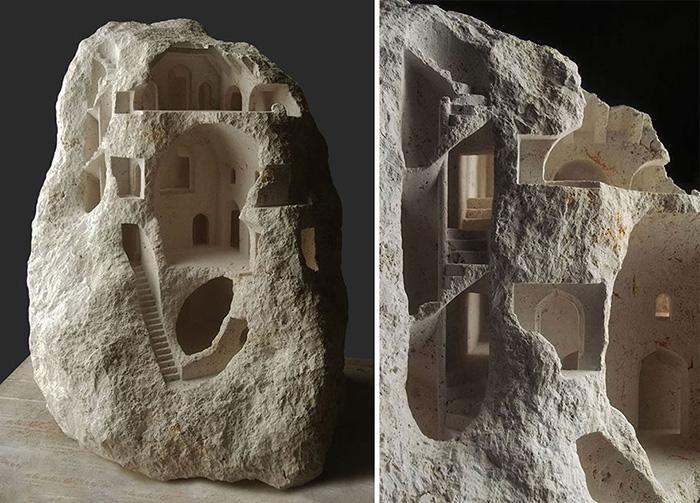 Сначала скульптору нужно выбрать нужный камень.