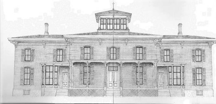 Рисунок того, как выглядел особняк Футов до того, как он начал разрушаться.