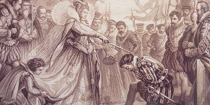 Елизавета посвящает Фрэнсиса Дрейка в рыцари.
