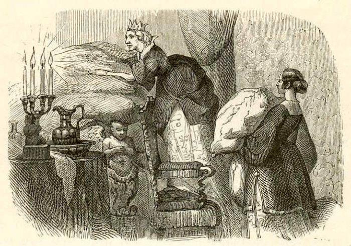 Иллюстрация к сказке «Принцесса на горошине». Автор: Вильхельм Педерсен. Первый иллюстратор сказок и историй Ганса Христиана Андерсена.