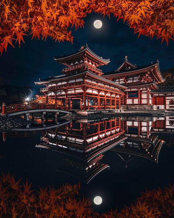 Храм Бёдо-ин в Удзи, Япония, примерно в 30 км к югу от Киото.