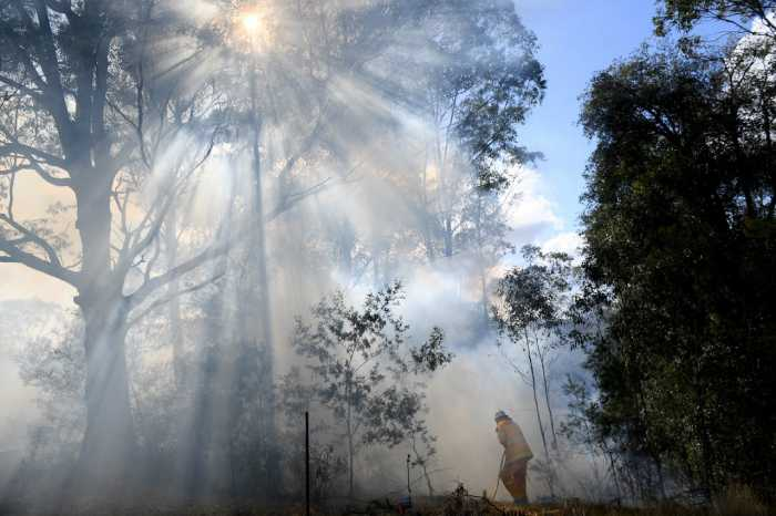 Пожарный уничтожает траву, чтобы уменьшить очаг возгорания.