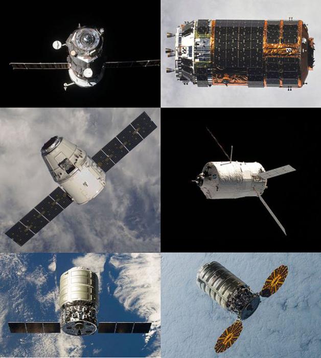 Коллаж из автоматизированных грузовых космических кораблей, которые использовались в прошлом, а теперь все они находятся на дне океана.