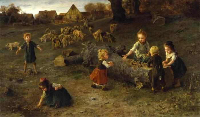Картина детей, лепящих пирожки из грязи.