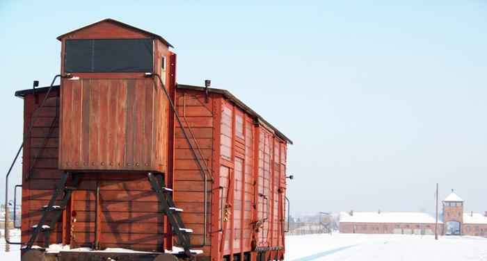 В таких вагонах в Освенцим привозили узников, многим эту дорогу не удалось пережить.