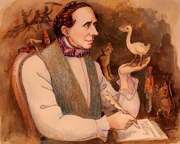 Андерсена обучал грамоте его отец, он же читал ему разные волшебные истории.