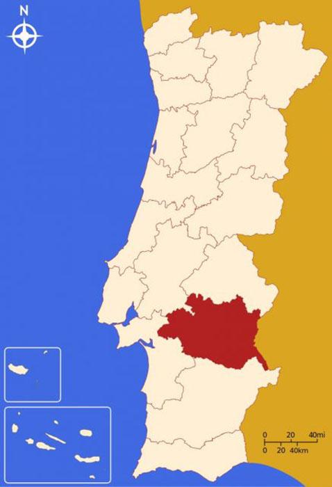 Район Эвора в Португалии, местонахождение находки.
