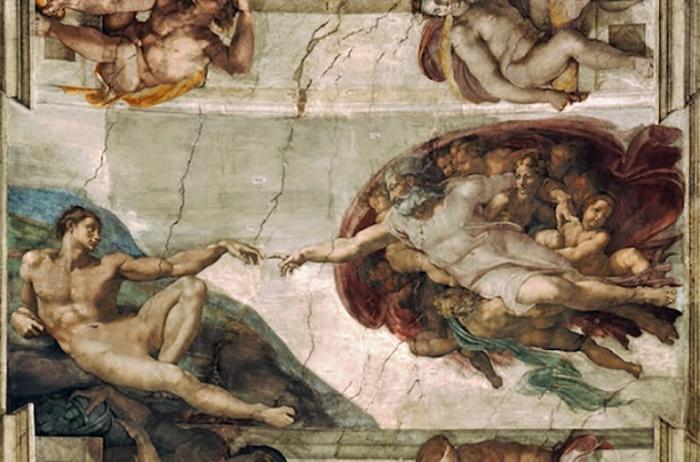 Самое известное панно на потолке Сикстинской капеллы под названием «Сотворение Адама».
