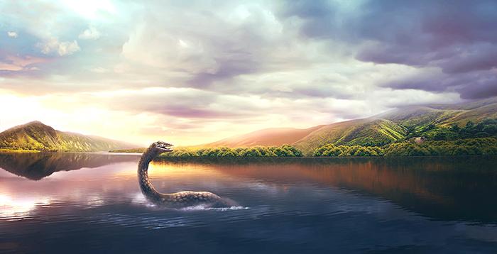Так изображают мифического монстра озера Лох-Несс.